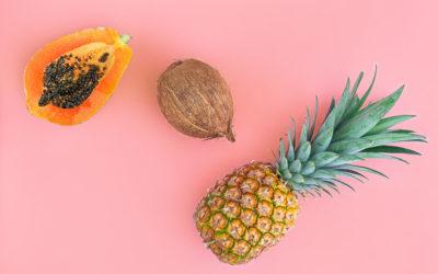 Ensalada de Piña, Dados de Coco y Papaya en Almíbar de Cardamomo