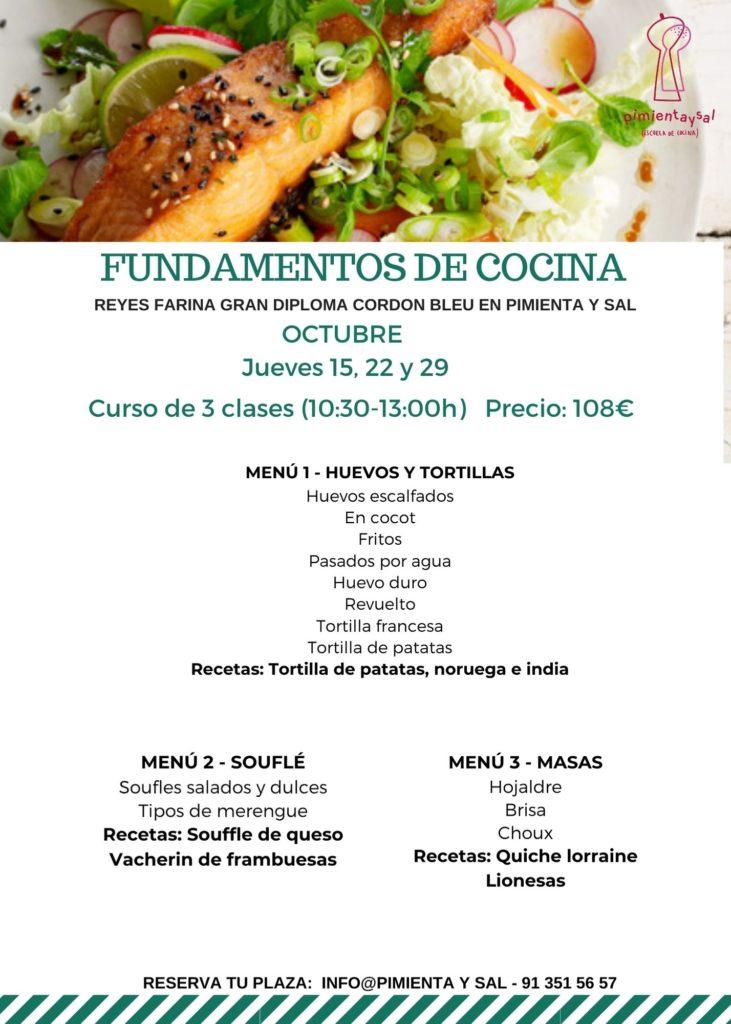 Curso de fundamentos de cocina en Escuela de Cocina Pimienta y Sal en Pozuelo de Alarcón